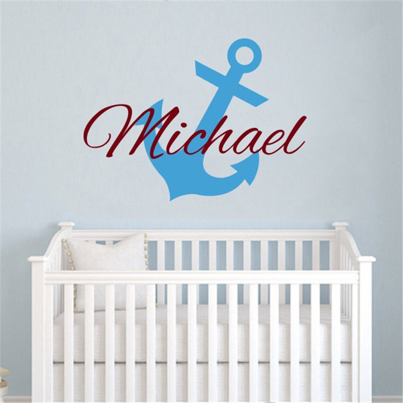 Little Anchor Vinyl Wall Sticker Personalized Boys Name Vinyl Wall Decals Kids Baby Bedroom Art Decoration Wall Mural