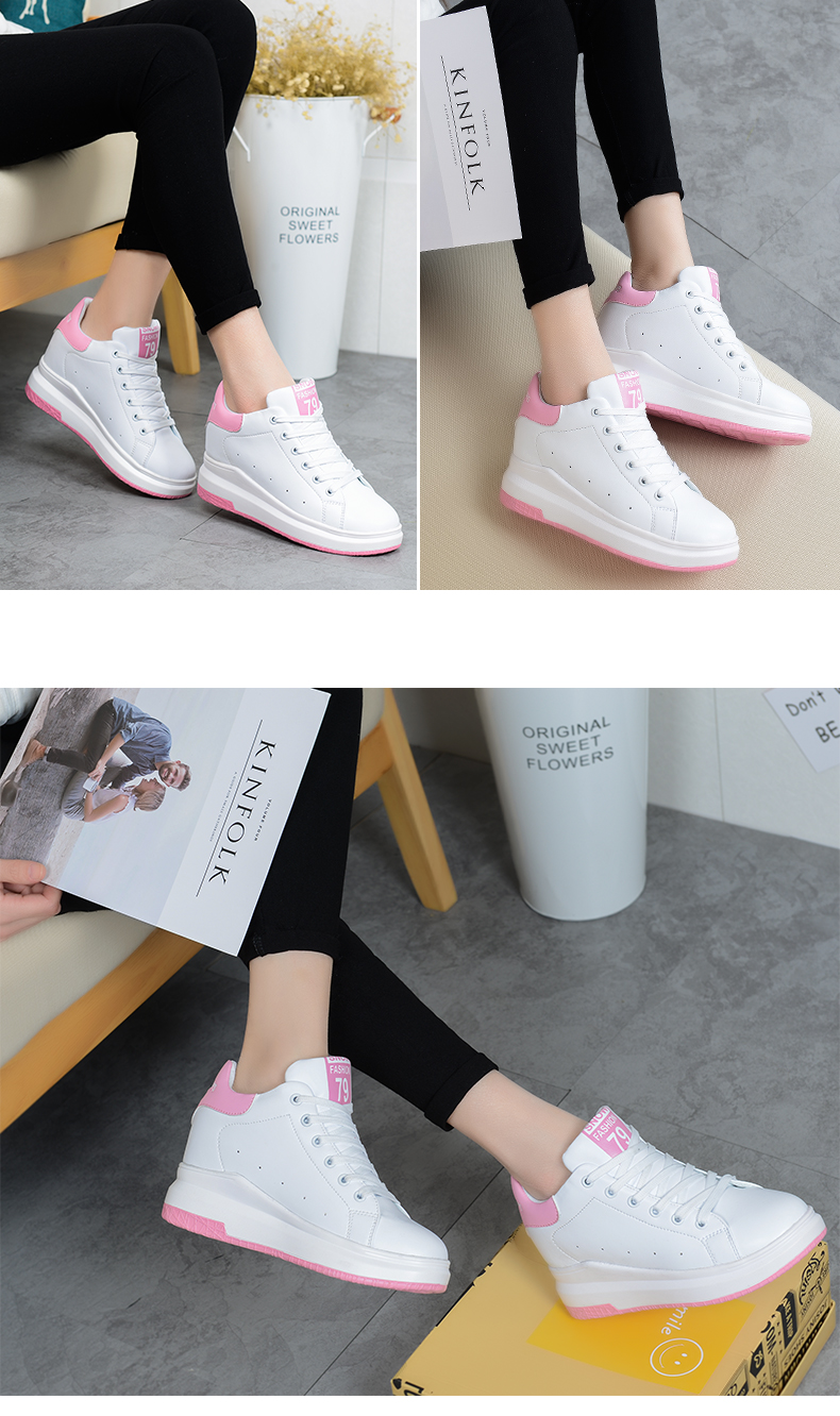 Hide Heel Wedge Leather Casual Shoes Woman 2017 Fashion Spring Lace Up Ladies Shoes Breathable Women White Shoes Superstars ZD39 (30)