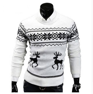 Image 1 - Deer Christmas Sweaters for Man O Neck Casual Pullover Male Sweater Men Jumper Mens Knitwear Sueter Slim Top Winter Sweters