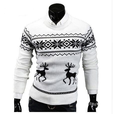 Deer Christmas Sweaters for Man O Neck Casual Pullover Male Sweater Men Jumper Mens Knitwear Sueter Slim Top Winter Sweters