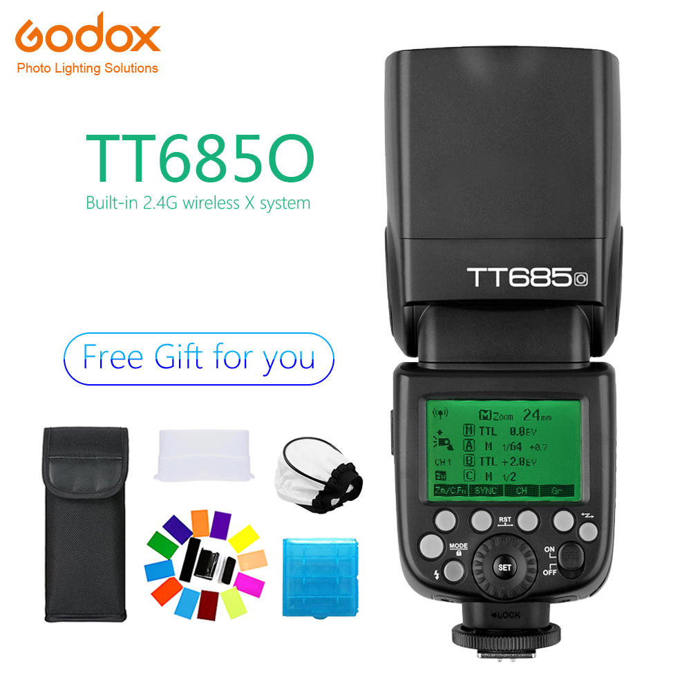 Godox TT685 TT685O Speedlite Flash Wireless TTL 2 4G Wireless HSS 1 8000s for Olympus E M10II E M5II E M1 E Camera photography in Flashes from Consumer Electronics