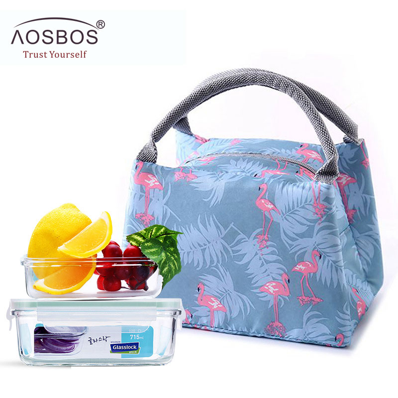Aosbos Animal Flamingo Lunch Bag For Women Men Kid Portable Functional Canvas Stripe Insulated Thermal Food Picnic Cooler Box