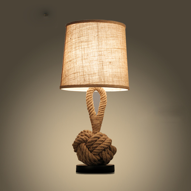 Retro Minimalist Hemp Rope Desk Lamp. Vintage American Country Hemp Table  Lamp Restaurant Bar Cafe