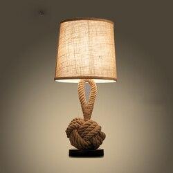 Retro minimalistyczny liny konopne biurko lampy. W stylu Vintage krajem ameryki konopi lampa stołowa restauracja Bar Cafe światła sypialnia lampka nocna