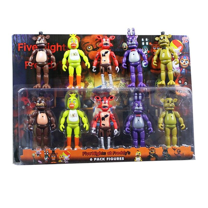 5 Pcs/ Lot 5.5 Inch <font><b>FNAF</b></font> Five Nights At <font><b>Freddy's</b></font> PVC Action FigureS Toy Foxy <font><b>Gold</b></font> <font><b>Freddy</b></font> Chica <font><b>Freddy</b></font> With 2 Color LED Lights