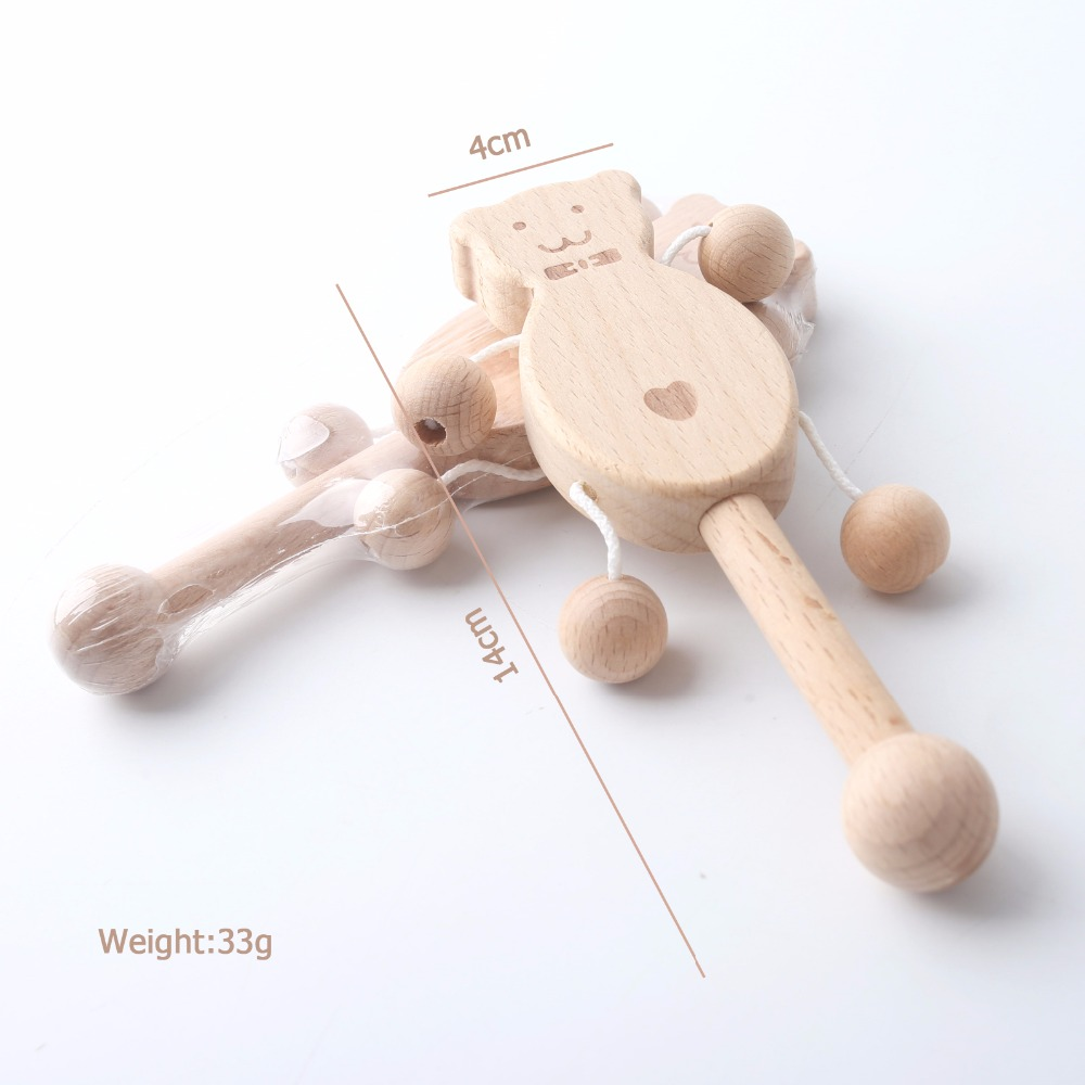 Wooden Rattles Bear Shape Puzzle Toys Best Kids Brain Game Toys Baby Nursing Accessories Chewable Food Grade Wooden Baby Rattles image