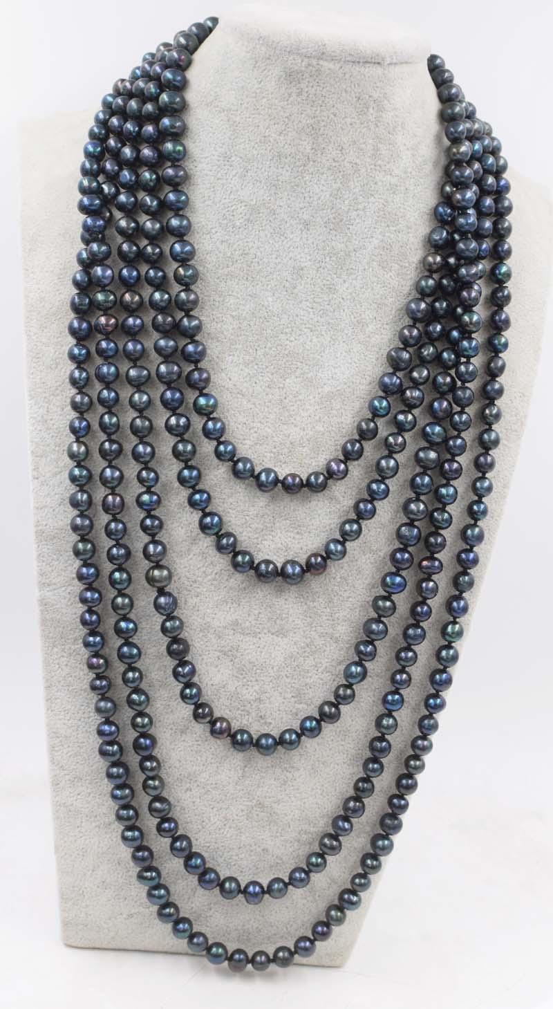 Пресноводный жемчуг черный рядом круглый 8-9 мм Ожерелье 80 дюймов fppj оптовая продажа бусы природа