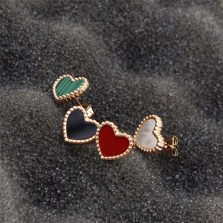YUN RUO Lovely Red Green Heart Stud Earring Female Woman Jewelry Party Stainless Steel Rose Gold Color Never Fade Drop Shipping