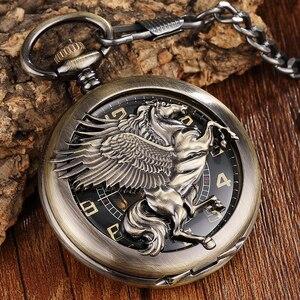 Image 1 - Reloj de bolsillo Steampunk para hombre, Caballo de bronce Reloj de bolsillo mecánico, cadena, caballo hueco, diseño de Pegaso