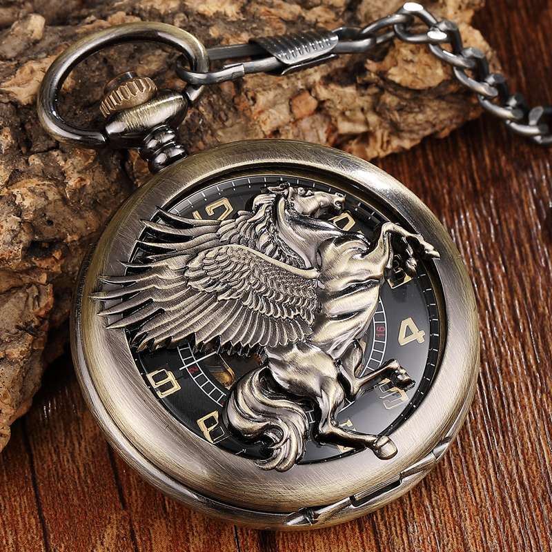 Vintage Unique Bronze Horse Mechanical Pocket Watch Men FOB Chain Hollow Horse with Wing Pegasus Design Stemapunk Pocket Watches button design tee with pocket