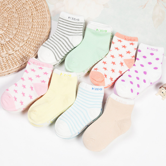 2018 New 5Pair/Lot Cotton Baby Socks Striped Dot Design New Born Winter Short Floor Socks For Kids Girls And Boys Hot Sale