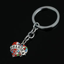 Newest Grandmother Crystal Multicolor Heart Key Chains Gifts Family Grandma Nana Keychain Women Jewelry Charm Key Ring Keyring(China)