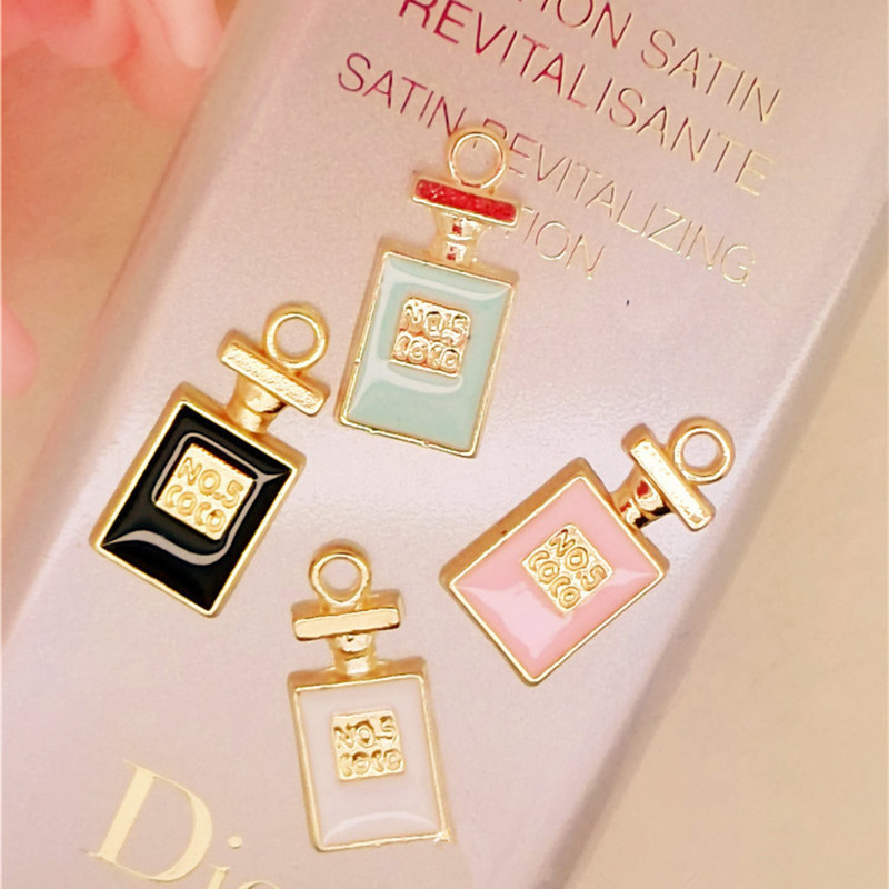 MRHUANG 10 stks / partij parfumfles drijvende Emaille Bedels Lichtmetalen Hanger fit voor kettingen armbanden DIY Vrouwelijke Mode-sieraden