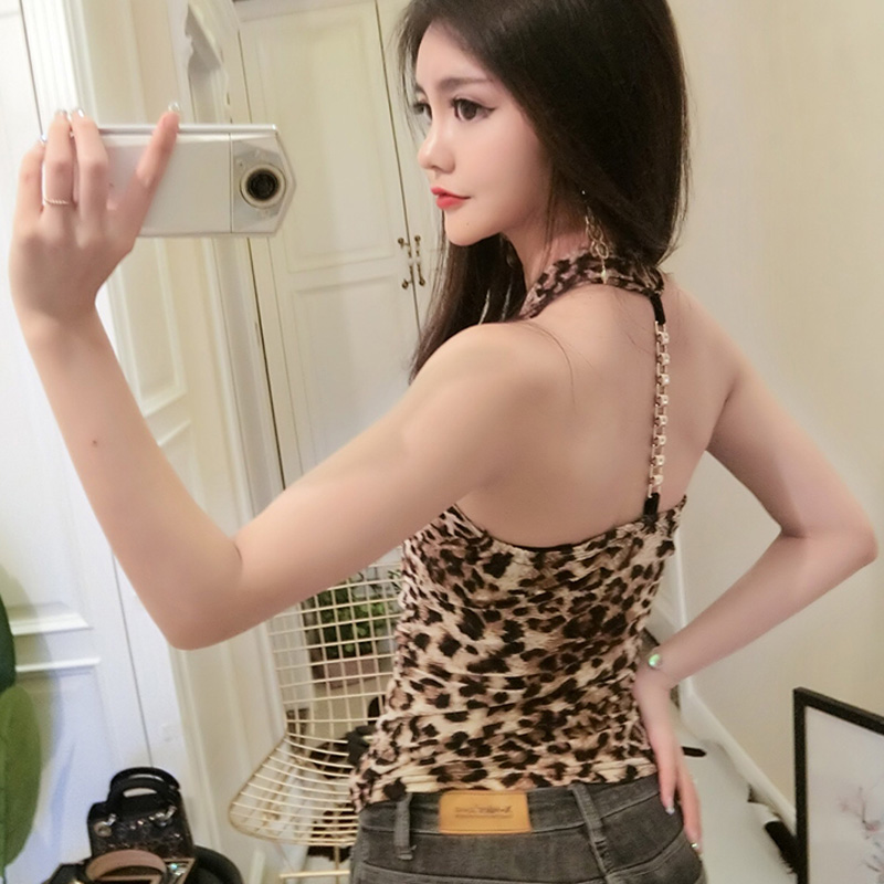 Camiseta Tirantes Mujer Leopard Print Sexy Off Back Woman Camisole 2018 Summer Deep V Slim Sleeveless Tank Top Women Sequin Tops in Tank Tops from Women 39 s Clothing