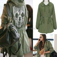 여성 패션 펑크 고딕 육군 녹색 후드 까마