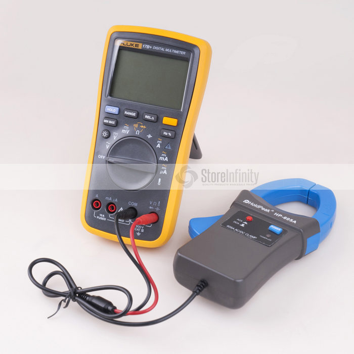 Fluke 17B+ PLUS Digital Multimeter (Backlit) +  Holdpeak HP-605A Clamp Adapter 600A AC/DC Current Fluke 17B+ PLUS Digital Multimeter (Backlit) +  Holdpeak HP-605A Clamp Adapter 600A AC/DC Current