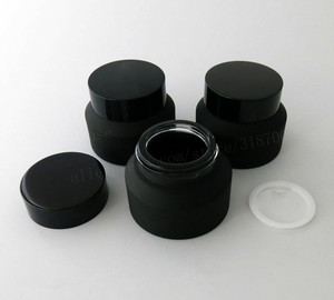 Image 4 - 12 x 15g 30g 50g Frost Black Glass Cream Jar With Lids White Seal Insertion Container Cosmetic Packaging Glass Cream Pot