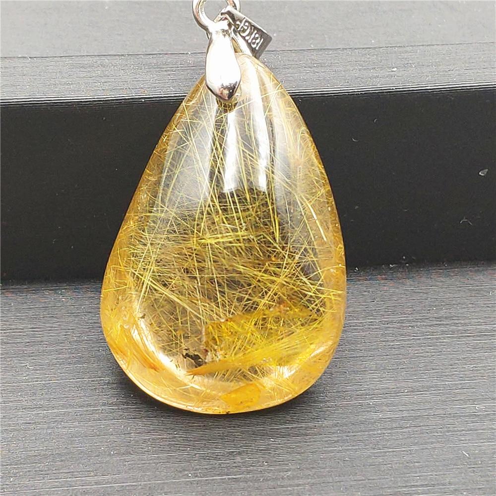 Natural Gold Rutilated Quartz Pendant (1)