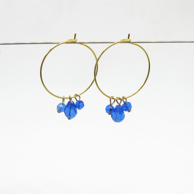 Delicate Handmade Women Blue Crystal Bead Charms Gold Hoop Earring