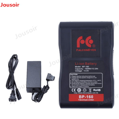 Falcon Eyes BP-160L 10500mAh 14.8V V Mount Battery With Adapter Charger For RX-12TD RX-18TD RX-24TDX RX-29TDX RX-36TDX CD50