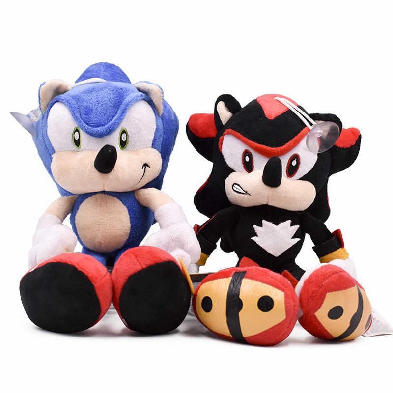 27 cm Sonic dibujos animados juguetes de peluche muñeca azul o negro sónico felpa suave juguetes de peluche para niños envío gratis