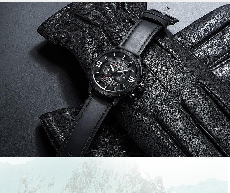 Topdudes.com - Casual Hollow Out Unique Design Waterproof Wrist Watches with Genuine Leather Strap