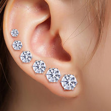6 Pairs/Set New Punk Accessories Crystal Stud Earrings Set For Women Round Flower Fashion Design Brincos Jewelry Bijoux(China)