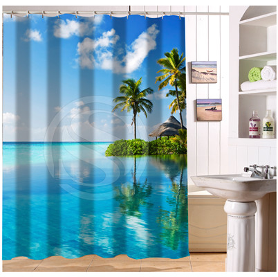 W522#78 Custom Sea Ocean Beach Huts Palm Trees Pool T7 Modern Shower Curtain  Bathroom Waterproof Free Shipping #fj78 In Shower Curtains From Home U0026  Garden ...