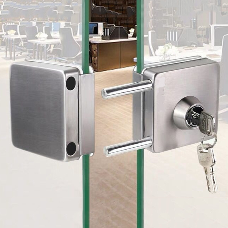 Stainless Steel 10-12mm Glass Door Lock Double Sides Open No Drilling Gate Lock --M25Stainless Steel 10-12mm Glass Door Lock Double Sides Open No Drilling Gate Lock --M25