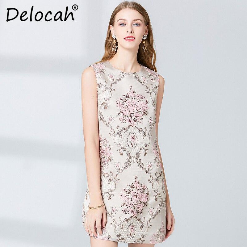 Delocah Women Spring Summer Dress Runway Fashion Designer Sleeveless Gorgeous Beading Embroidery Elegant Slim Mini Ladys