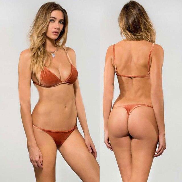 Sexy Micro Velvet Biquini Womens Brazilian Thong Bikini Beach Solid Swimsuit Bather May Reversib Swimwear Halter