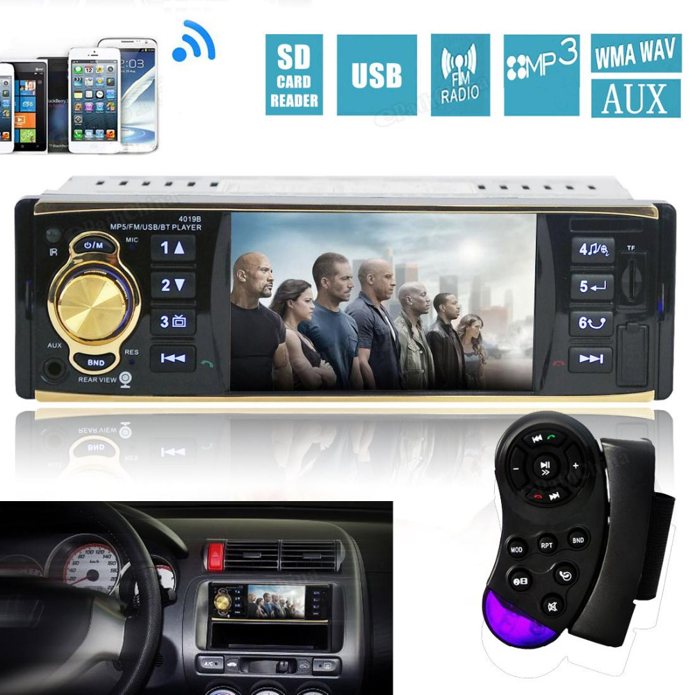 4.1 Inch HD 1080P Bluetooth Car Stereo MP3 MP4 MP5 Player Auto Audio Video Player Support FM Radio AUX Input + Remote Control 12v 1 din in dash bluetooth auto car radio stereo mp3 audio player fm aux input receiver support usb sd mmc remote control