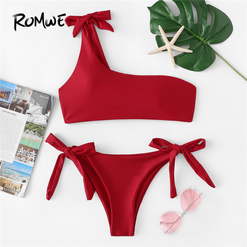3056afb36285 Detail Feedback Questions about Romwe Sport Red Tied Knot One Shoulder Top  With Tied Side Swim Bottoms Bikinis Set Women Summer Wire Free Beachwear  Swimsuit ...