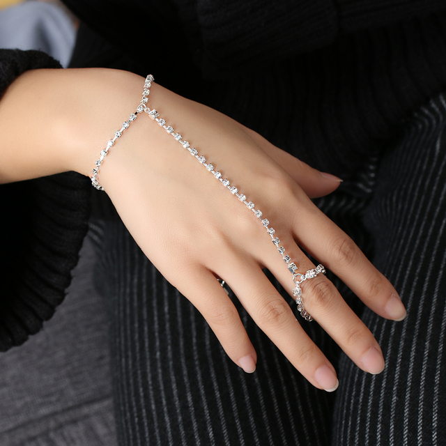 1 PC Fashion Charm Women Gold/Silver Gothic Slave Chain Link Hand Finger Bracelets Chain Harness Bangles