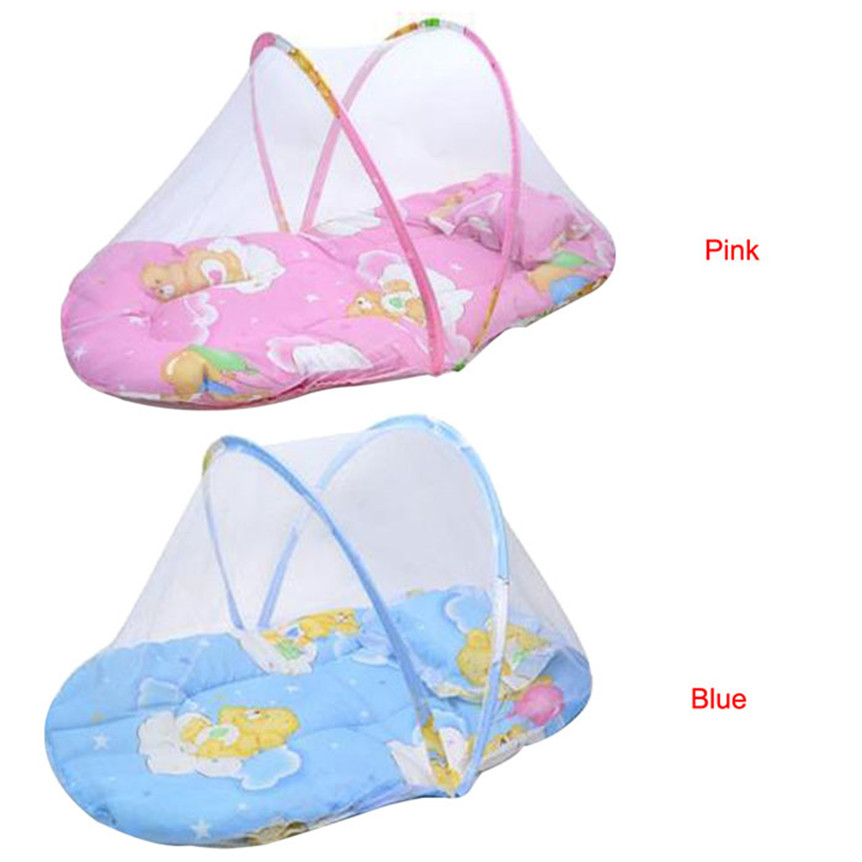 Happy Sales Factory Price Fashion high quality New Baby Child Portable Folding Crib Mattress Bed mosquito Cushion net Aug26