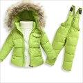 Snowsuit New Infantil Menino Da Menina das crianças Desgaste da Neve do Inverno Gola De Pele Do Falso Com Capuz Macacões Da Criança Meninas Outwear Para Baixo Casaco Térmico