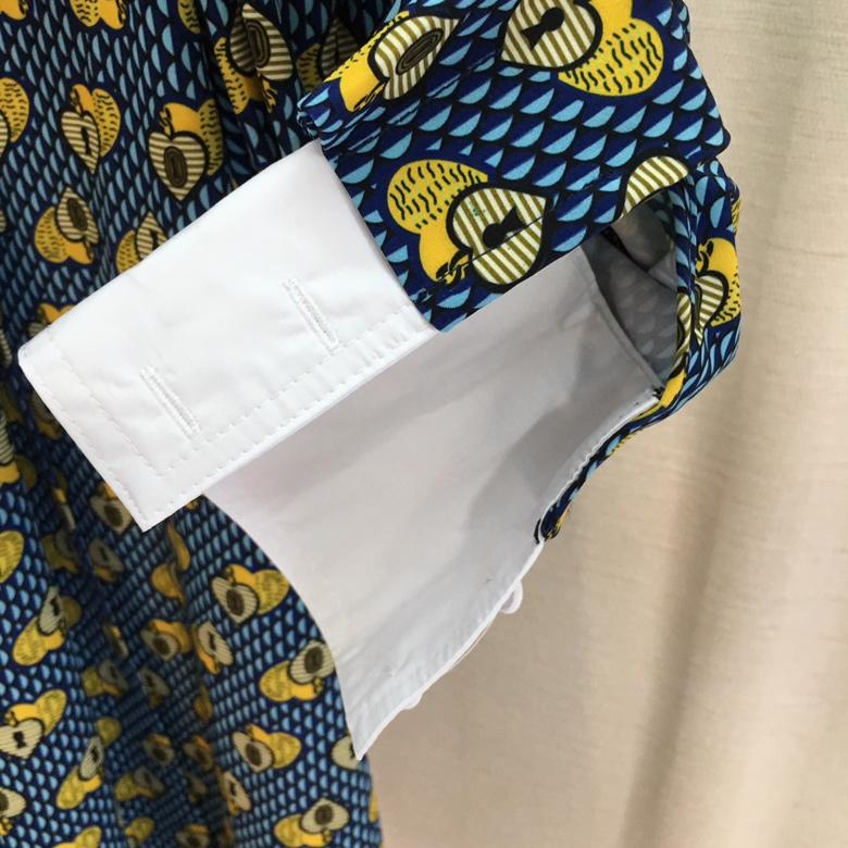 Blau 2019 Revers 0403 Damen Baumwolle Ärmeln Mode Neue Kleid Frauen Lange Druck ZkPuTOXi