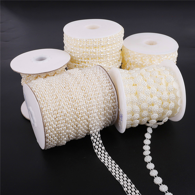 1/1.5/2m/lot Multi-size ABS Imitation Pearl Beads Chain Trim For DIY Wedding Party Decoration Jewelry Findings Craft Accessories