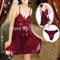 Señoras Sexy Vestido De Noche de Satén de Seda Sin Mangas Camisones Camisón V-cuello Más El Tamaño Camisón ropa de Dormir de Encaje Para Las Mujeres