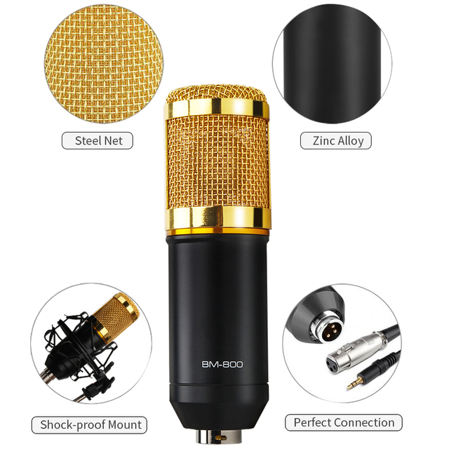 Bm 800 professional condenser microphone bm800 audio vocal recording for computer karaoke phantom power pop filter sound card