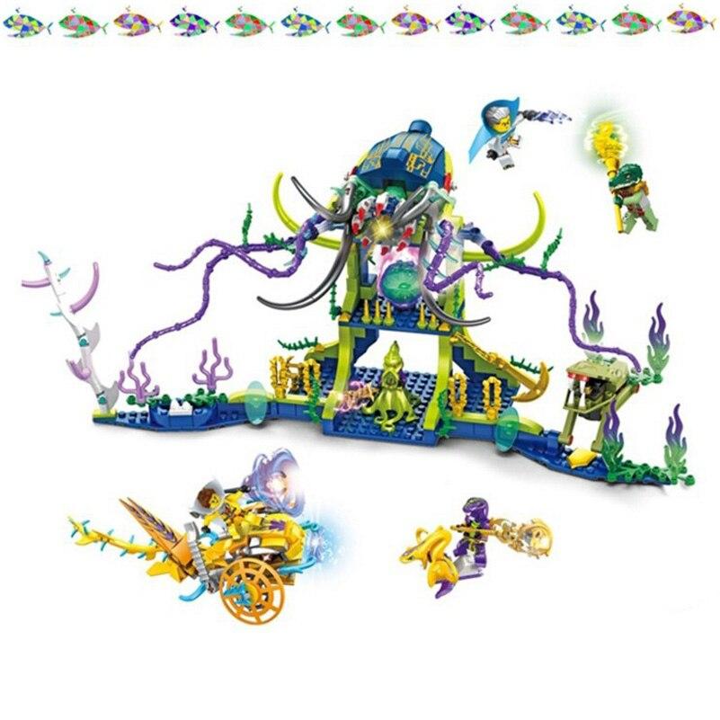 Undersea Castle Building Blocks Octopus Palace War Battle Magic Sorcerer Series 629pcs Bricks Education Toys Gifts For Children