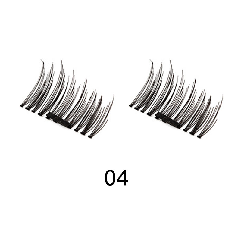 4 pcs Single Magnetic Eyelashes No Glue Reusable 3D Handmade False Eyelashes Ultra Thin Lightweight Eyes Makeup FM88