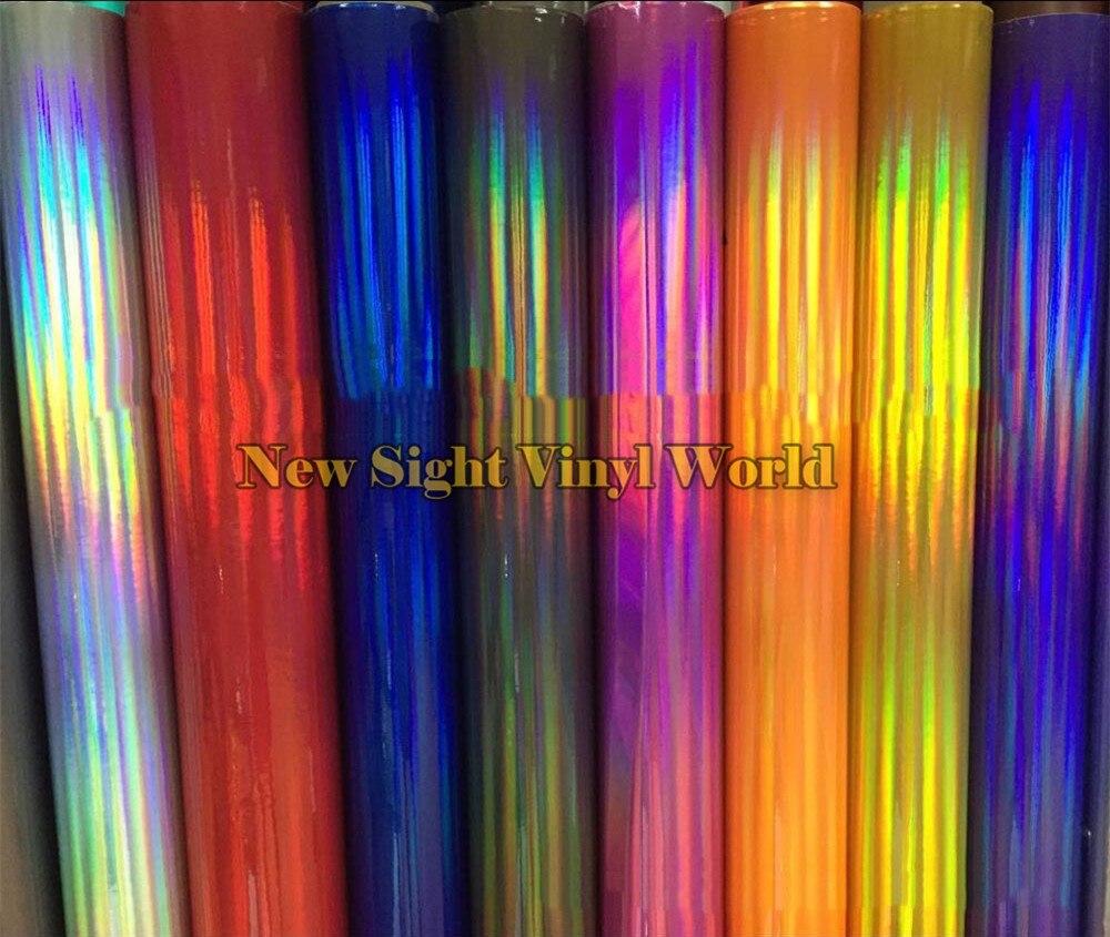 Divers Couleurs Argent Violet Or Noir Irisé Laser Chrome Vinyle Feuille Holographique Film Arc-En-Vinyle Wrap Rouleau Bubble Gratuit