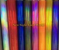 Various Colors Silver Purple Gold Black Iridescent Laser Chrome Vinyl Foil Holographic Film Rainbow Vinyl Wrap Roll Bubble Free