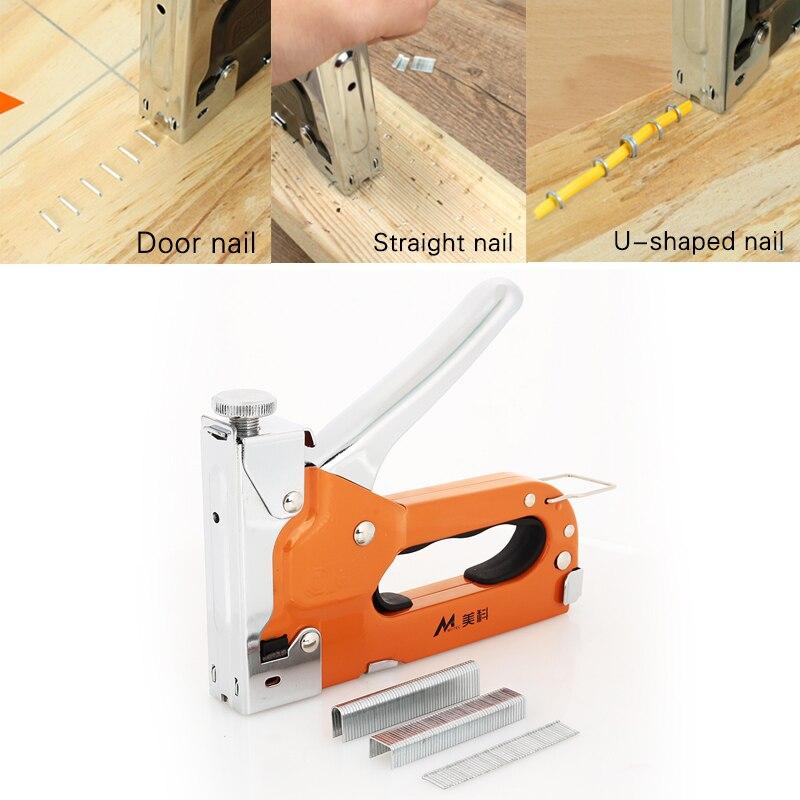 Durable Nailers Rivet Tool Door Nailer Nail Staple Gun Metal Orange Multifunction Carpentry Home Improvement Wood Dowel