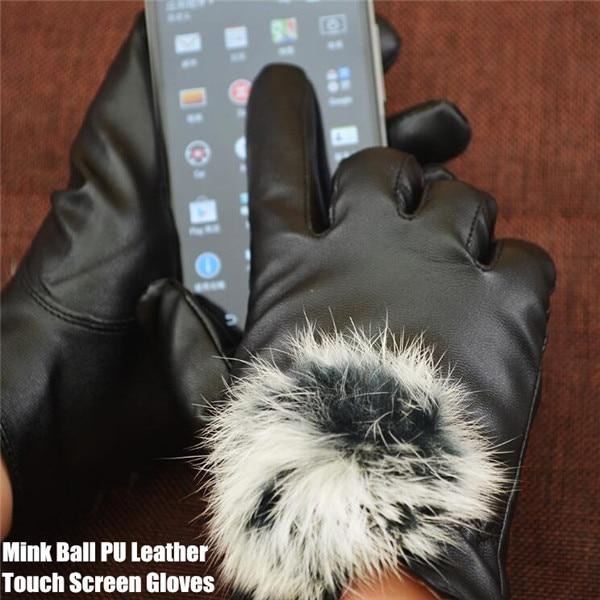 20pairs!Big Yards Mink Ball PU Leather Touch Screen Gloves For IPad&Smart Phone,Women Winter Warm Velvet Gloves,High Sensitivity