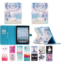 For iPad 2 iPad 3 4 Case Magnetic Leather Stand Filp Wallet Case Cover For ipad 4 3 Protective Tablet Case with Card Slot Holder
