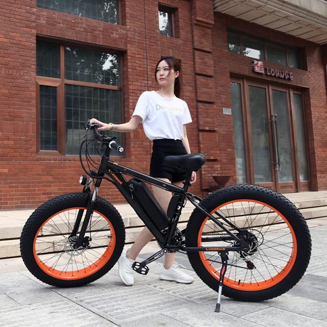 "Elektrikli Bisiklet 26x4.0 ""inç Yağ Elektrikli Bisiklet 48 V 12ah Lityum Pil Dağ Bisikleti 500 W 21 hızlı Motor EBike güçlü"
