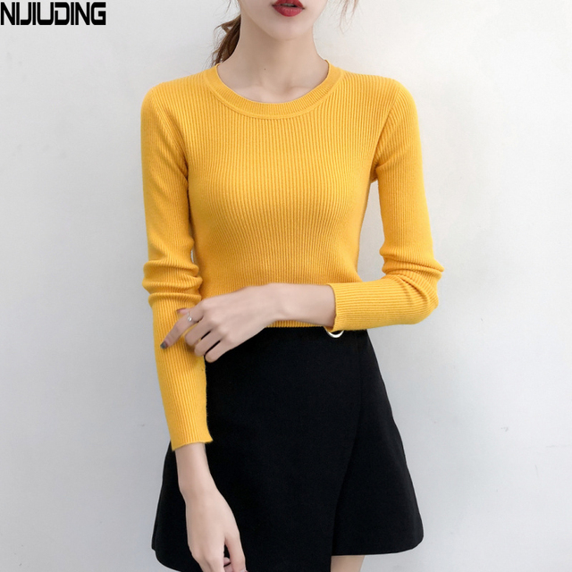 2018 Autumn Winter Women s Sweaters And Pullovers Korean Style Long Sleeve O -Neck Sweater Slim Solid Knitted Jumper Sweter Mujer 94ca7ff114b6