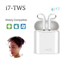 цена на I7s TWS Wireless Bluetooth Earphones Handsfree Noise Cancelling Stereo Headset Sport True Wireless Earbuds With Mic Charging Box
